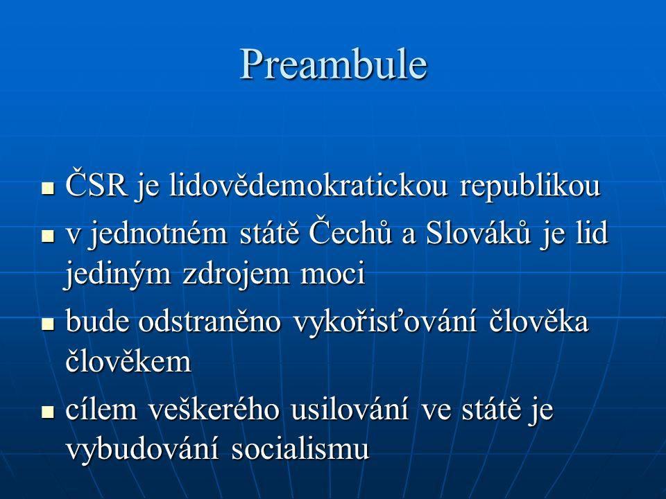 Preambule ČSR je lidovědemokratickou republikou ČSR je lidovědemokratickou republikou v jednotném státě Čechů a Slováků je lid jediným zdrojem moci v
