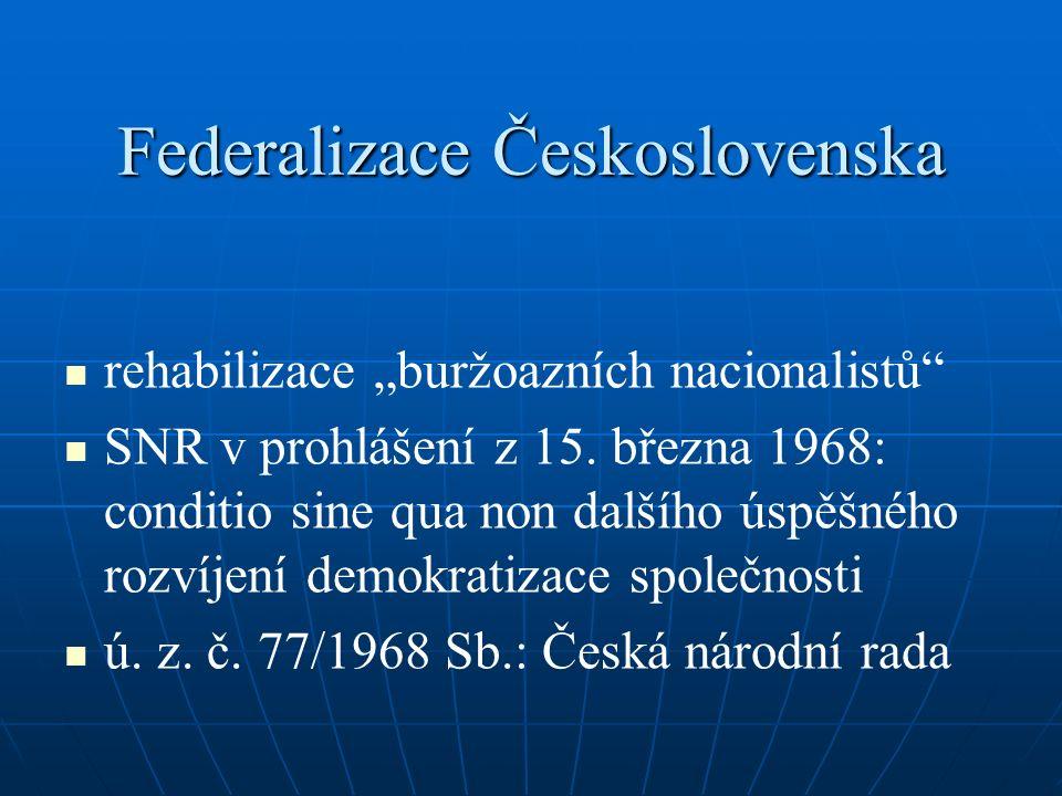 """Federalizace Československa rehabilizace """"buržoazních nacionalistů"""" SNR v prohlášení z 15. března 1968: conditio sine qua non dalšího úspěšného rozvíj"""