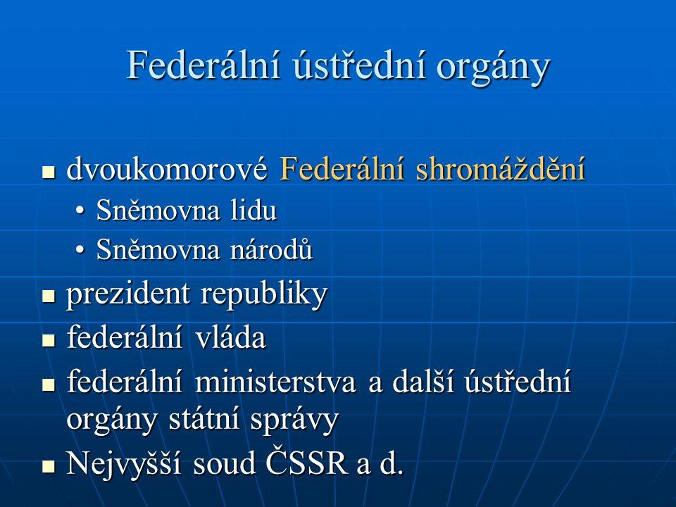 Federální ústřední orgány dvoukomorové Federální shromáždění dvoukomorové Federální shromáždění Sněmovna liduSněmovna lidu Sněmovna národůSněmovna nár