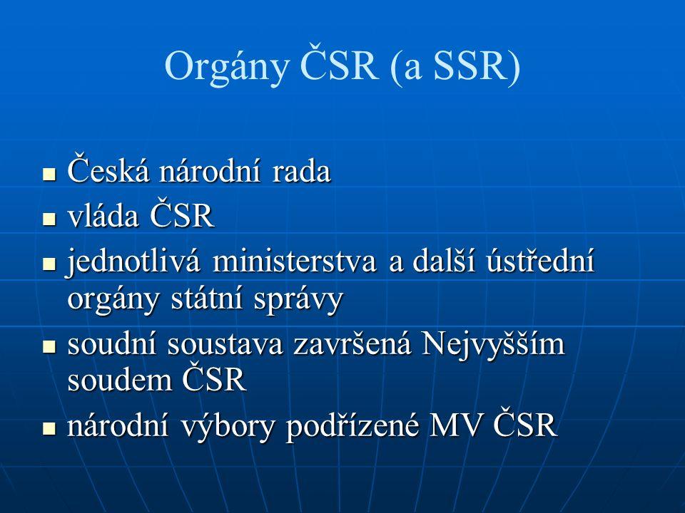 Orgány ČSR (a SSR) Česká národní rada Česká národní rada vláda ČSR vláda ČSR jednotlivá ministerstva a další ústřední orgány státní správy jednotlivá