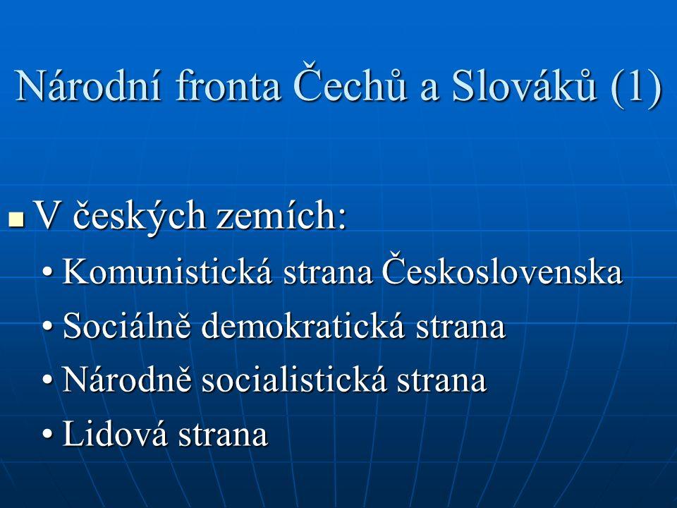 Národní fronta Čechů a Slováků (2) Na Slovensku: Na Slovensku: Demokratická stranaDemokratická strana Komunistická strana SlovenskaKomunistická strana Slovenska Strana práce (1946)Strana práce (1946) Strana slobody (1946)Strana slobody (1946)