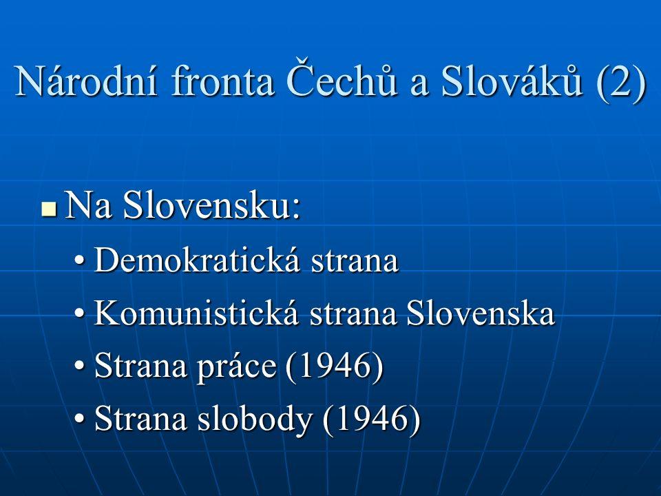 Národní fronta Čechů a Slováků (2) Na Slovensku: Na Slovensku: Demokratická stranaDemokratická strana Komunistická strana SlovenskaKomunistická strana