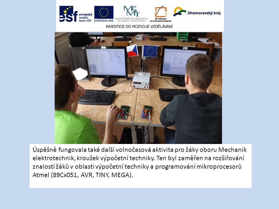 Úspěšně fungovala také další volnočasová aktivita pro žáky oboru Mechanik elektrotechnik, kroužek výpočetní techniky.