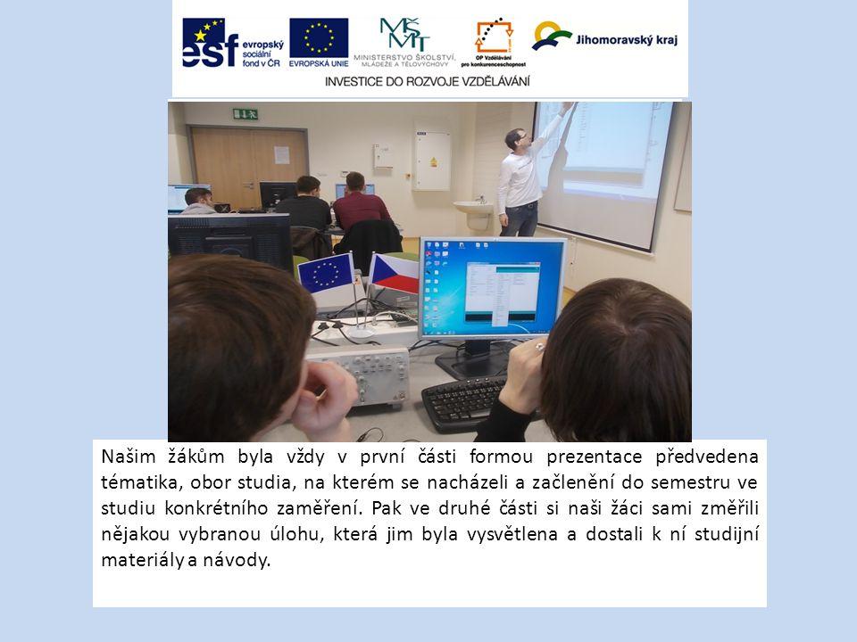 Našim žákům byla vždy v první části formou prezentace předvedena tématika, obor studia, na kterém se nacházeli a začlenění do semestru ve studiu konkrétního zaměření.