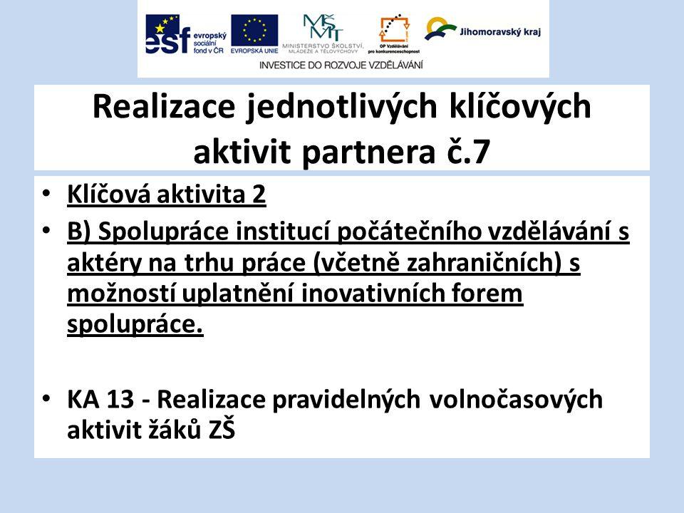 Realizace jednotlivých klíčových aktivit partnera č.7 Klíčová aktivita 2 B) Spolupráce institucí počátečního vzdělávání s aktéry na trhu práce (včetně zahraničních) s možností uplatnění inovativních forem spolupráce.