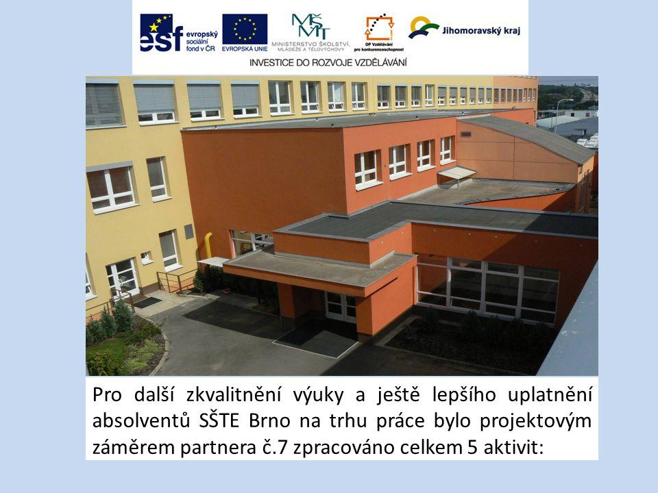Pro další zkvalitnění výuky a ještě lepšího uplatnění absolventů SŠTE Brno na trhu práce bylo projektovým záměrem partnera č.7 zpracováno celkem 5 aktivit: