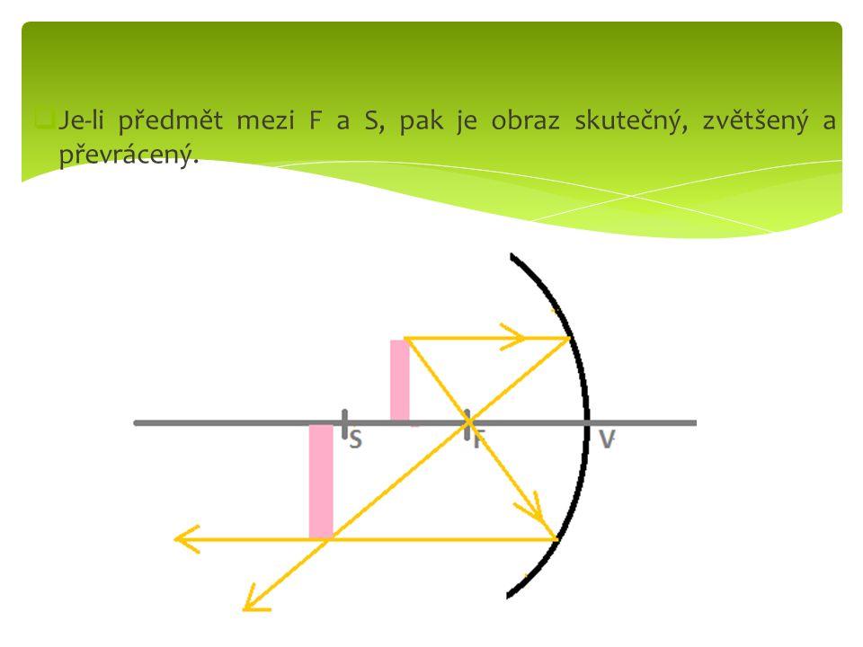  Je-li předmět za S, pak je obraz skutečný, zmenšený a převrácený