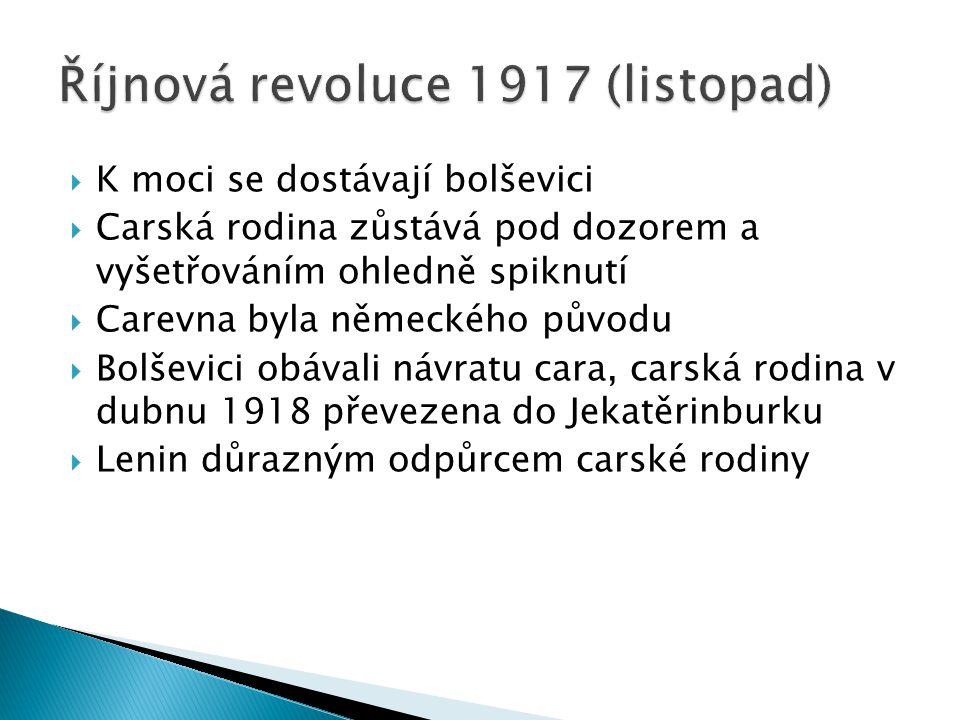  K moci se dostávají bolševici  Carská rodina zůstává pod dozorem a vyšetřováním ohledně spiknutí  Carevna byla německého původu  Bolševici obával