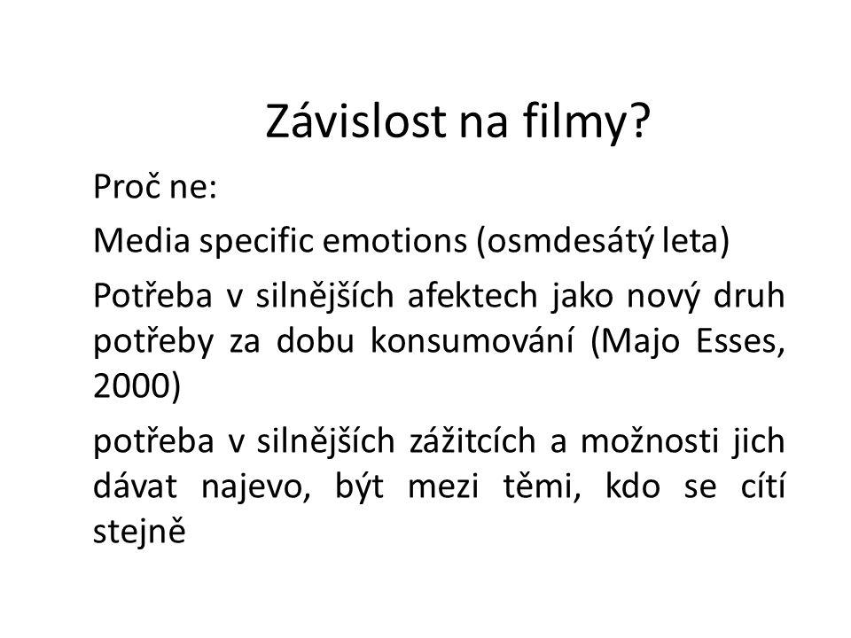 Závislost na filmy? Proč ne: Media specific emotions (osmdesátý leta) Potřeba v silnějších afektech jako nový druh potřeby za dobu konsumování (Majo E