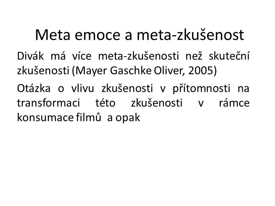 Meta emoce a meta-zkušenost Divák má více meta-zkušenosti než skuteční zkušenosti (Mayer Gaschke Oliver, 2005) Otázka o vlivu zkušenosti v přítomnosti
