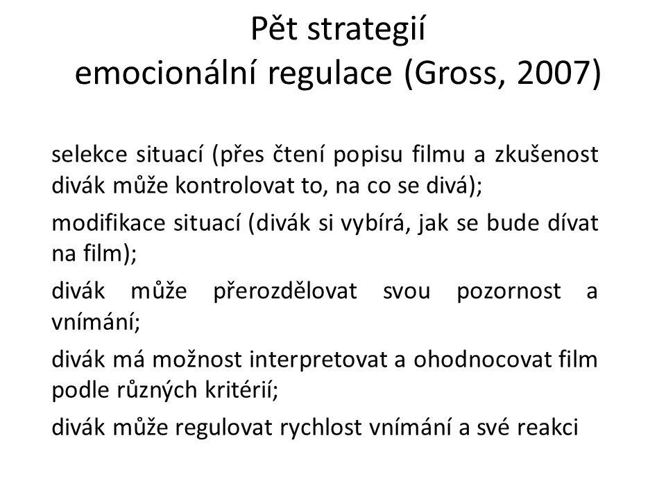 Pět strategií emocionální regulace (Gross, 2007) selekce situací (přes čtení popisu filmu a zkušenost divák může kontrolovat to, na co se divá); modif