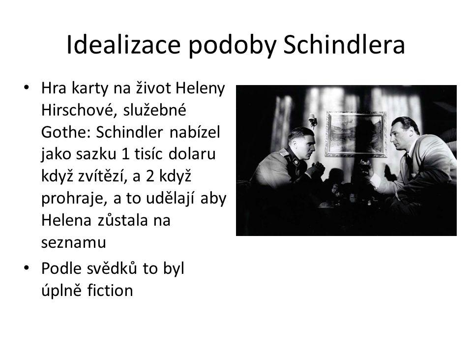 Idealizace podoby Schindlera Hra karty na život Heleny Hirschové, služebné Gothe: Schindler nabízel jako sazku 1 tisíc dolaru když zvítězí, a 2 když p