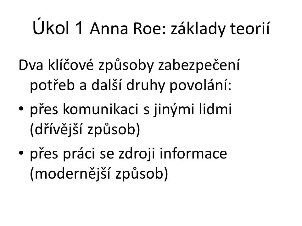 Úkol 1 Anna Roe: základy teorií Dva klíčové způsoby zabezpečení potřeb a další druhy povolání: přes komunikaci s jinými lidmi (dřívější způsob) přes p