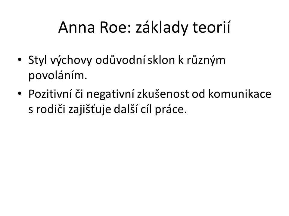 Anna Roe: základy teorií Styl výchovy odůvodní sklon k různým povoláním. Pozitivní či negativní zkušenost od komunikace s rodiči zajišťuje další cíl p