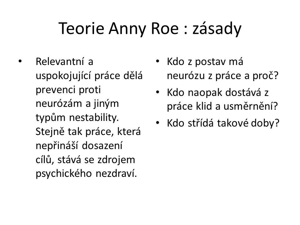 Teorie Anny Roe : zásady Relevantní a uspokojující práce dělá prevenci proti neurózám a jiným typům nestability. Stejně tak práce, která nepřináší dos
