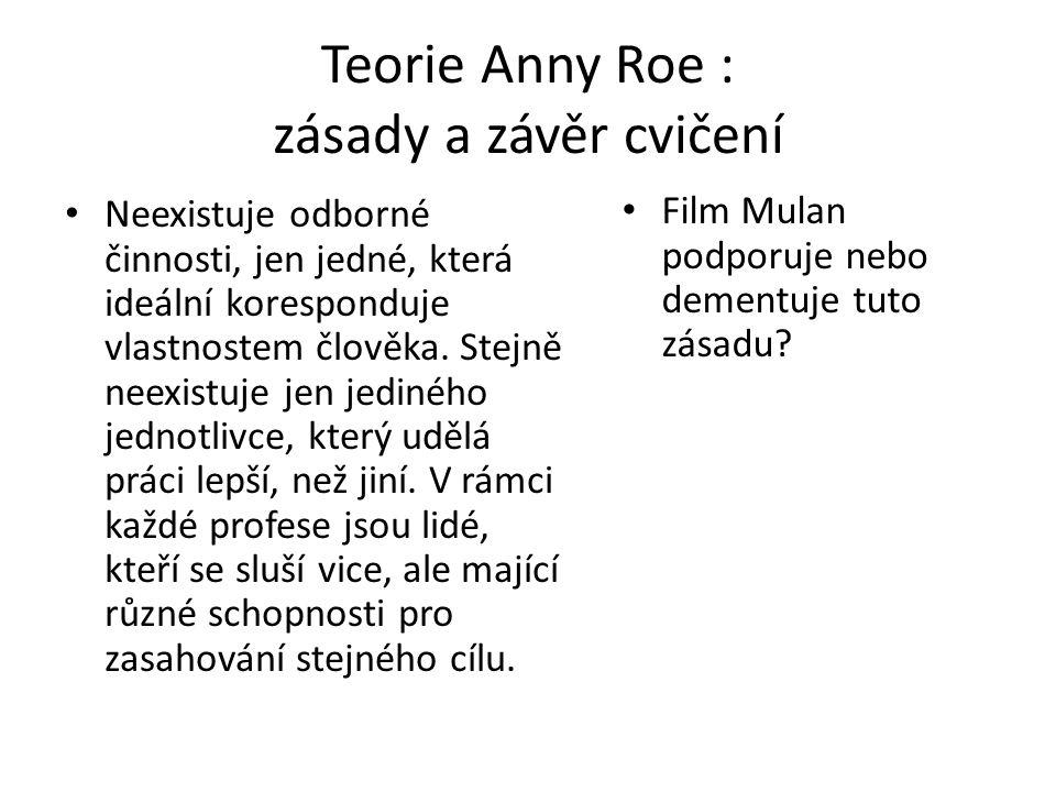 Teorie Anny Roe : zásady a závěr cvičení Neexistuje odborné činnosti, jen jedné, která ideální koresponduje vlastnostem člověka. Stejně neexistuje jen