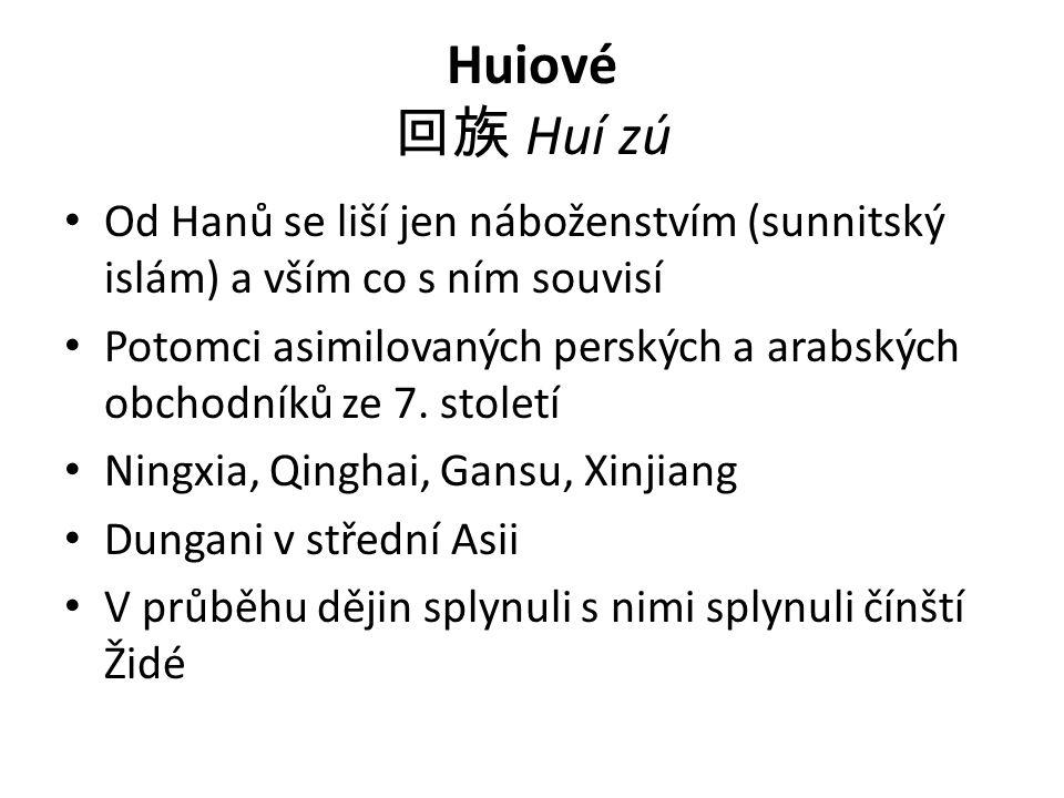 Huiové 回族 Huí zú Od Hanů se liší jen náboženstvím (sunnitský islám) a vším co s ním souvisí Potomci asimilovaných perských a arabských obchodníků ze 7.