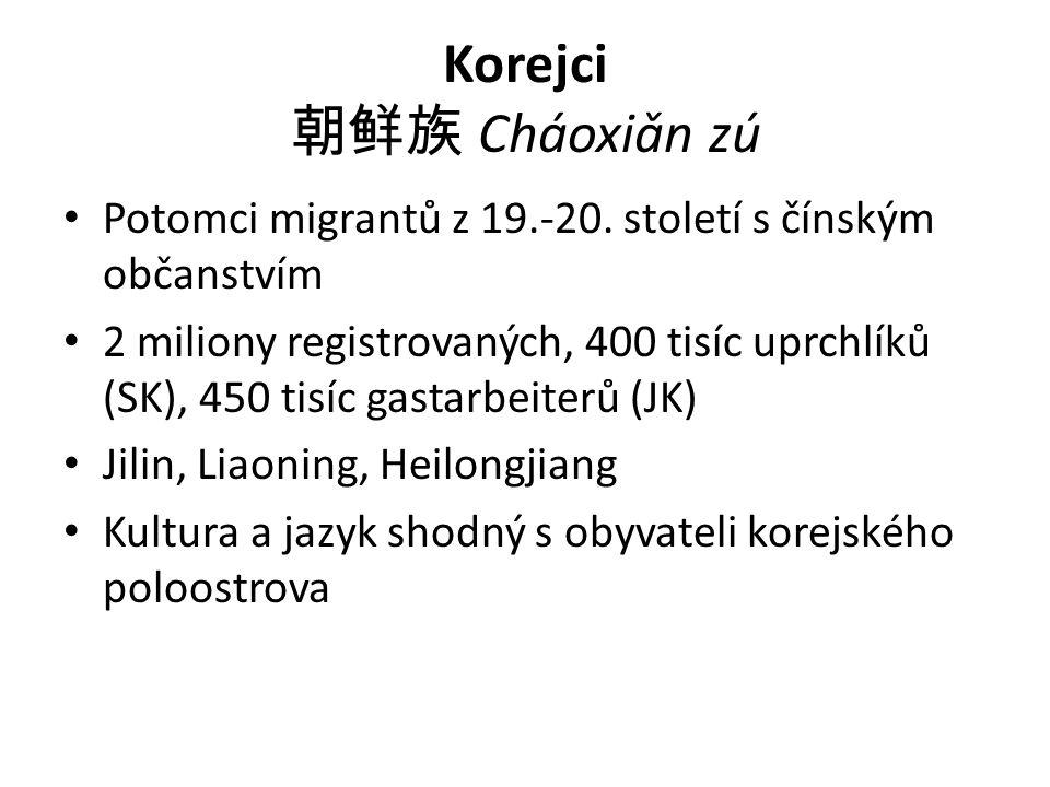 Korejci 朝鲜族 Cháoxiǎn zú Potomci migrantů z 19.-20.