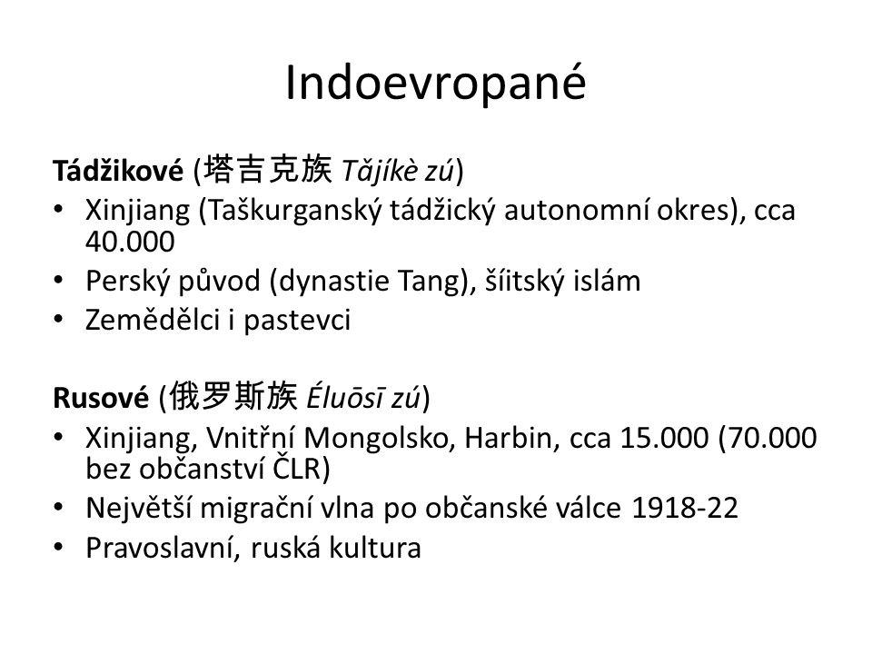Indoevropané Tádžikové ( 塔吉克族 Tǎjíkè zú) Xinjiang (Taškurganský tádžický autonomní okres), cca 40.000 Perský původ (dynastie Tang), šíitský islám Zemědělci i pastevci Rusové ( 俄罗斯族 Éluōsī zú) Xinjiang, Vnitřní Mongolsko, Harbin, cca 15.000 (70.000 bez občanství ČLR) Největší migrační vlna po občanské válce 1918-22 Pravoslavní, ruská kultura