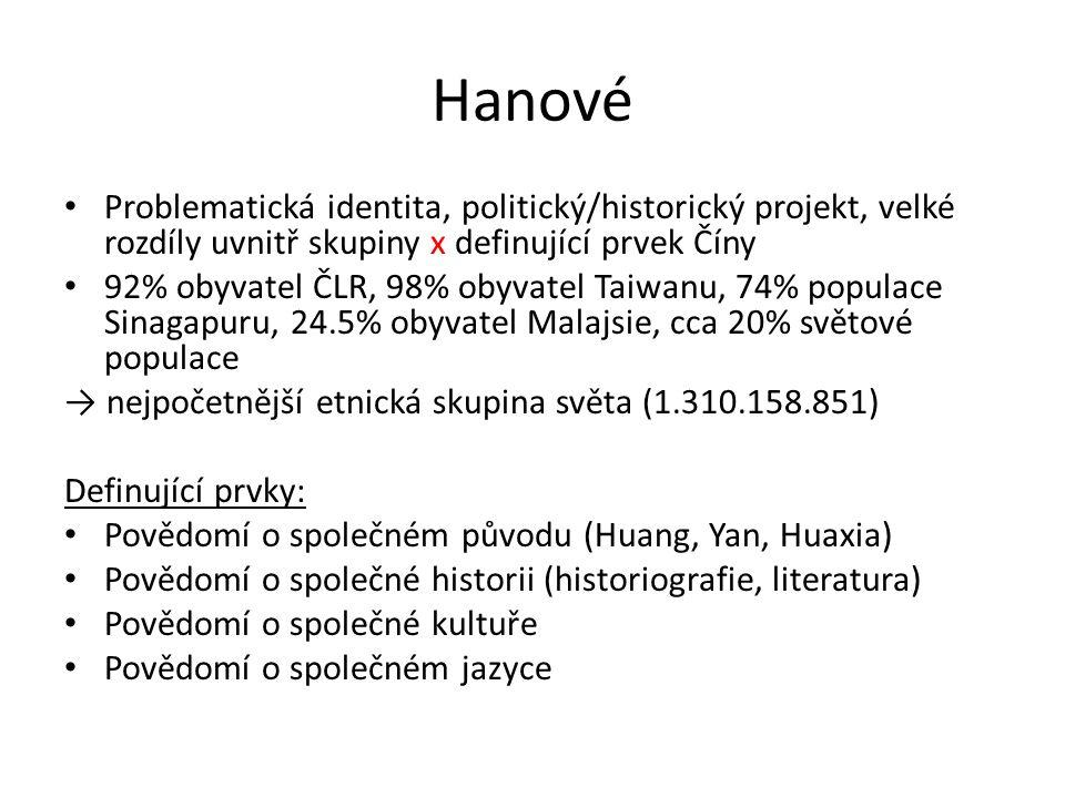 Hanové Problematická identita, politický/historický projekt, velké rozdíly uvnitř skupiny x definující prvek Číny 92% obyvatel ČLR, 98% obyvatel Taiwanu, 74% populace Sinagapuru, 24.5% obyvatel Malajsie, cca 20% světové populace → nejpočetnější etnická skupina světa (1.310.158.851) Definující prvky: Povědomí o společném původu (Huang, Yan, Huaxia) Povědomí o společné historii (historiografie, literatura) Povědomí o společné kultuře Povědomí o společném jazyce