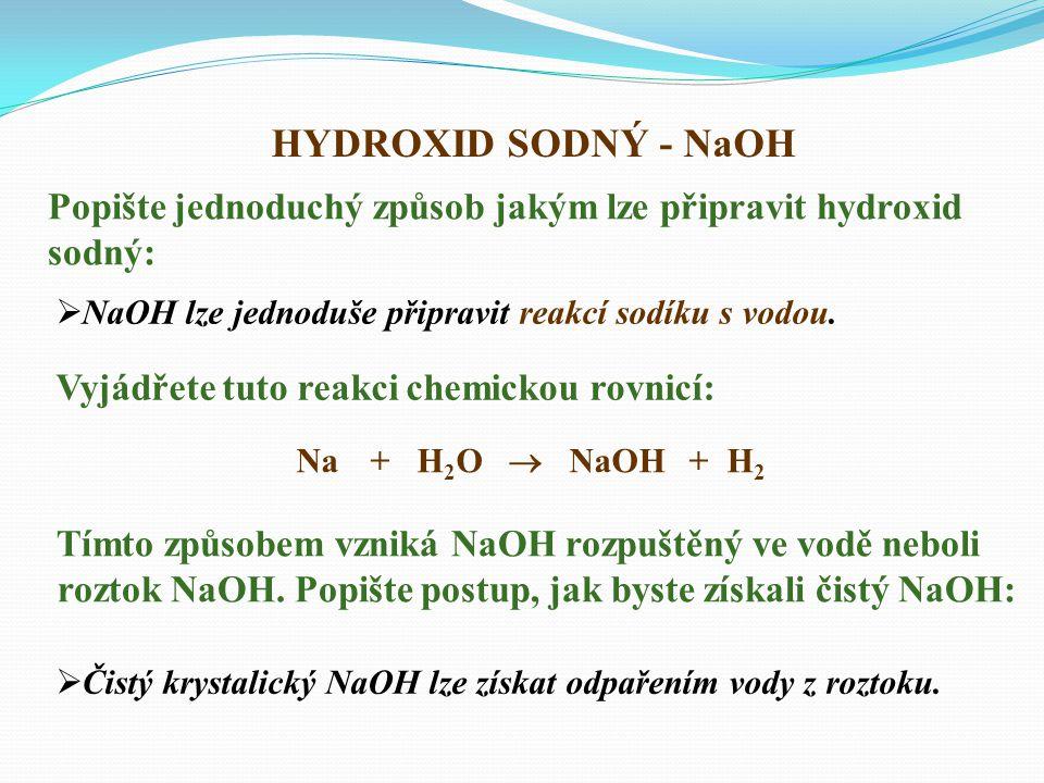 HYDROXID SODNÝ - NaOH  NaOH lze jednoduše připravit reakcí sodíku s vodou.