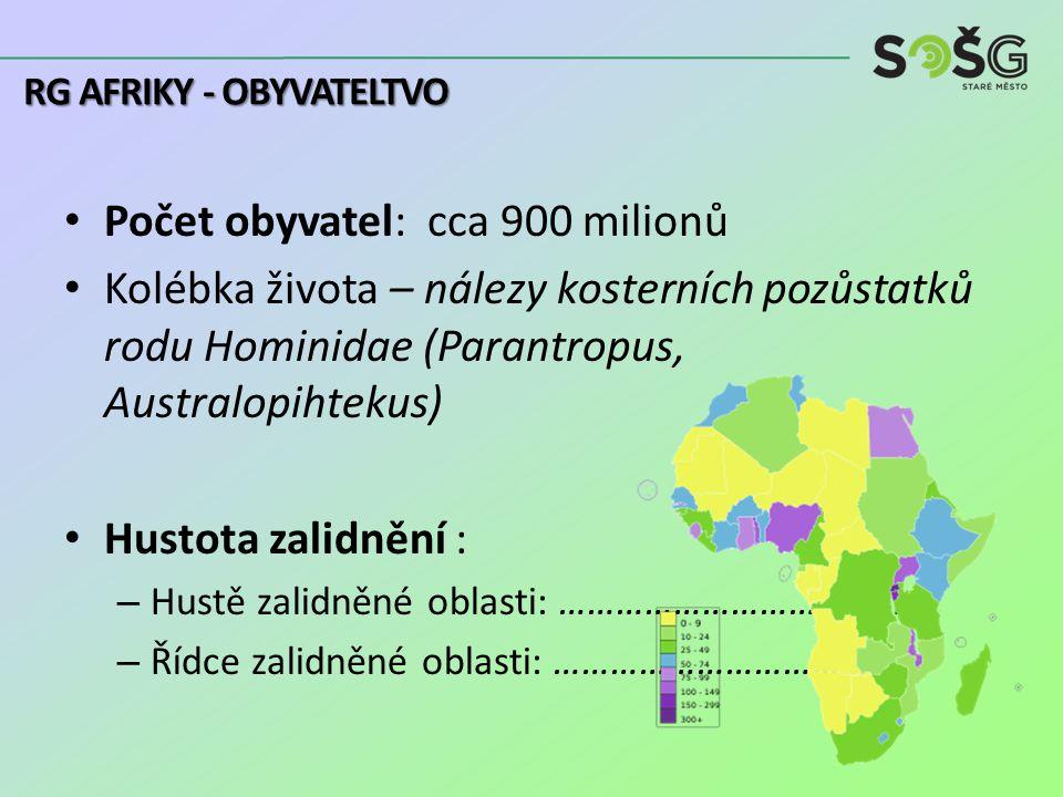 Počet obyvatel: cca 900 milionů Kolébka života – nálezy kosterních pozůstatků rodu Hominidae (Parantropus, Australopihtekus) Hustota zalidnění : – Hustě zalidněné oblasti: ………………………………..
