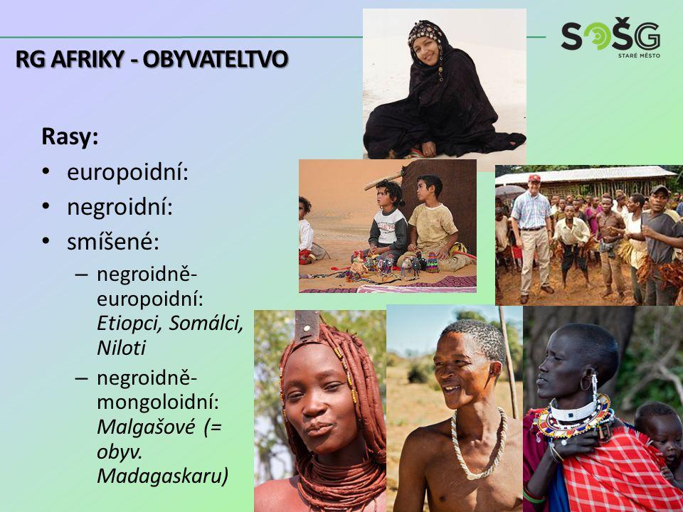 Rasy: europoidní: negroidní: smíšené: – negroidně- europoidní: Etiopci, Somálci, Niloti – negroidně- mongoloidní: Malgašové (= obyv.