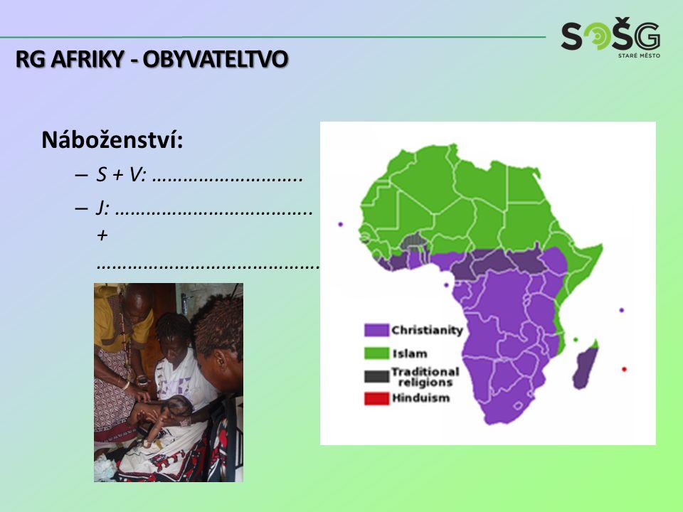 Náboženství: – S + V: ……………………….. – J: ……………………………….. + ……………………………………. RG AFRIKY - OBYVATELTVO