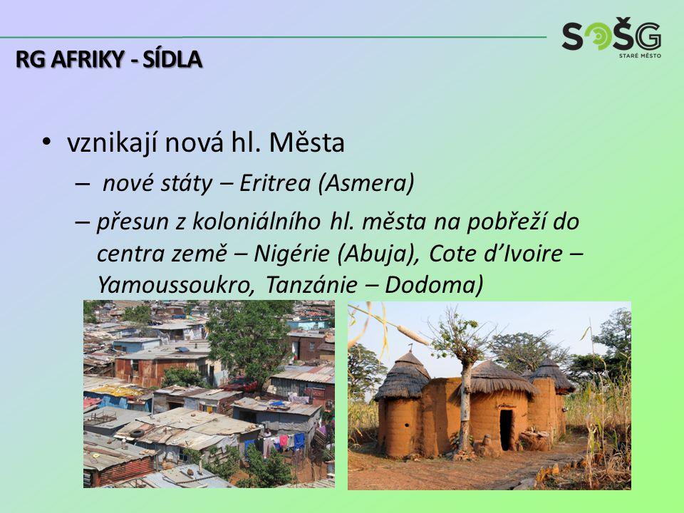 vznikají nová hl. Města – nové státy – Eritrea (Asmera) – přesun z koloniálního hl.