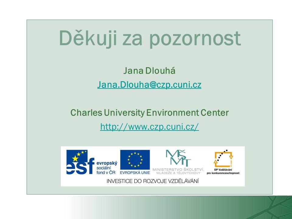 Děkuji za pozornost Jana Dlouhá Jana.Dlouha@czp.cuni.cz Charles University Environment Center http://www.czp.cuni.cz/