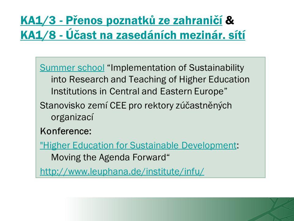 KA1/3 - Přenos poznatků ze zahraničíKA1/3 - Přenos poznatků ze zahraničí & KA1/8 - Účast na zasedáních mezinár.