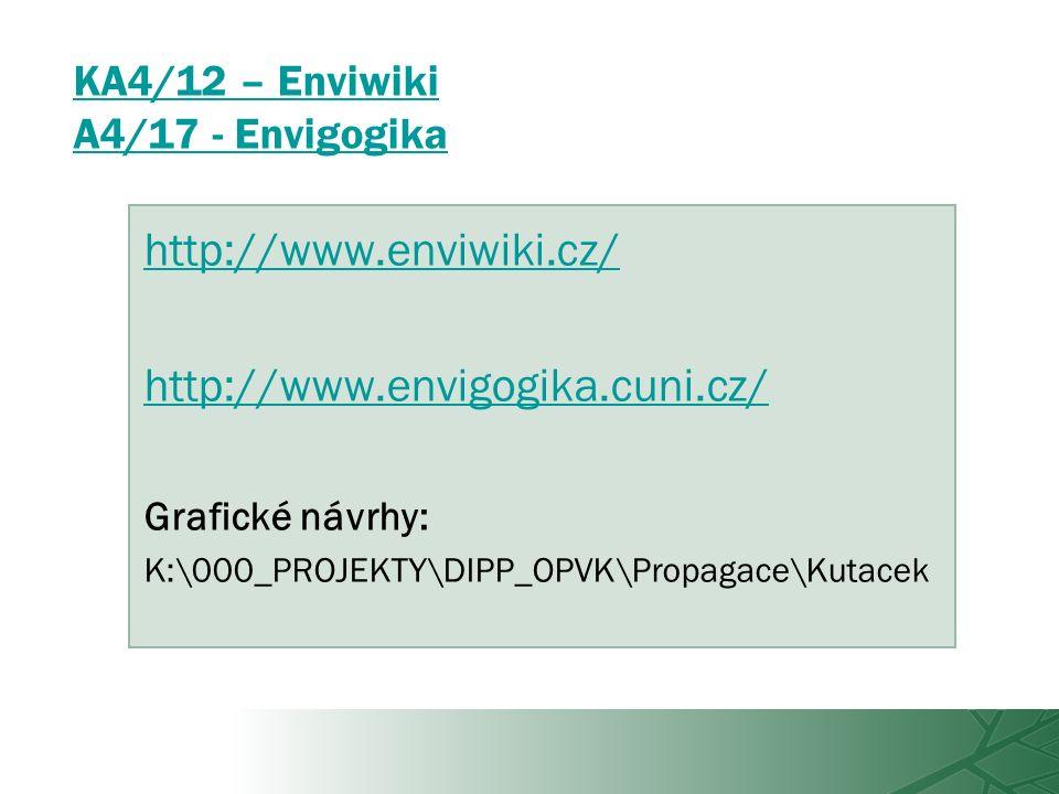 KA4/12 – Enviwiki A4/17 - Envigogika http://www.enviwiki.cz/ http://www.envigogika.cuni.cz/ Grafické návrhy: K:\000_PROJEKTY\DIPP_OPVK\Propagace\Kutacek