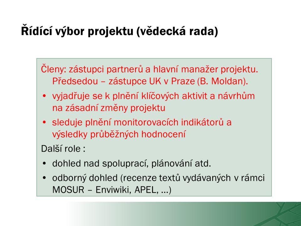 Řídící výbor projektu (vědecká rada) Členy: zástupci partnerů a hlavní manažer projektu.