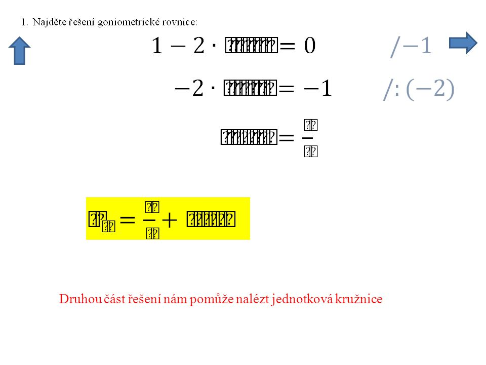 Druhou část řešení nám pomůže nalézt jednotková kružnice