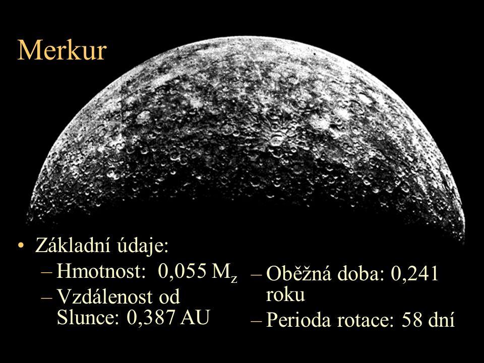 Merkur Základní údaje: –Hmotnost: 0,055 M z –Vzdálenost od Slunce: 0,387 AU –Oběžná doba: 0,241 roku –Perioda rotace: 58 dní
