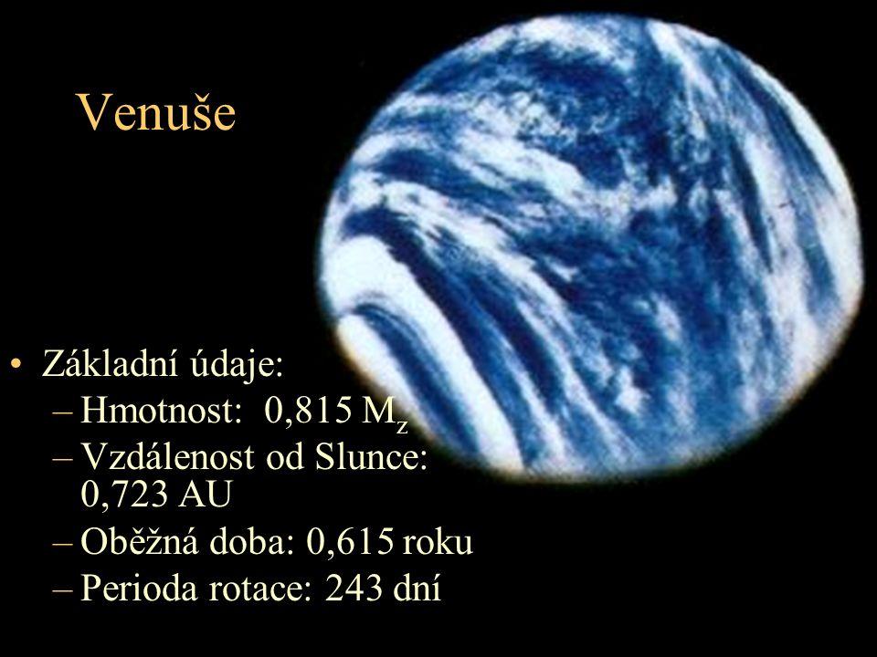 Venuše Základní údaje: –Hmotnost: 0,815 M z –Vzdálenost od Slunce: 0,723 AU –Oběžná doba: 0,615 roku –Perioda rotace: 243 dní