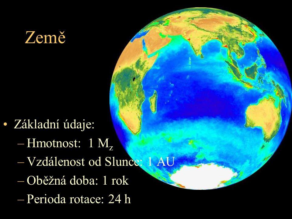 Země Základní údaje: –Hmotnost: 1 M z –Vzdálenost od Slunce: 1 AU –Oběžná doba: 1 rok –Perioda rotace: 24 h