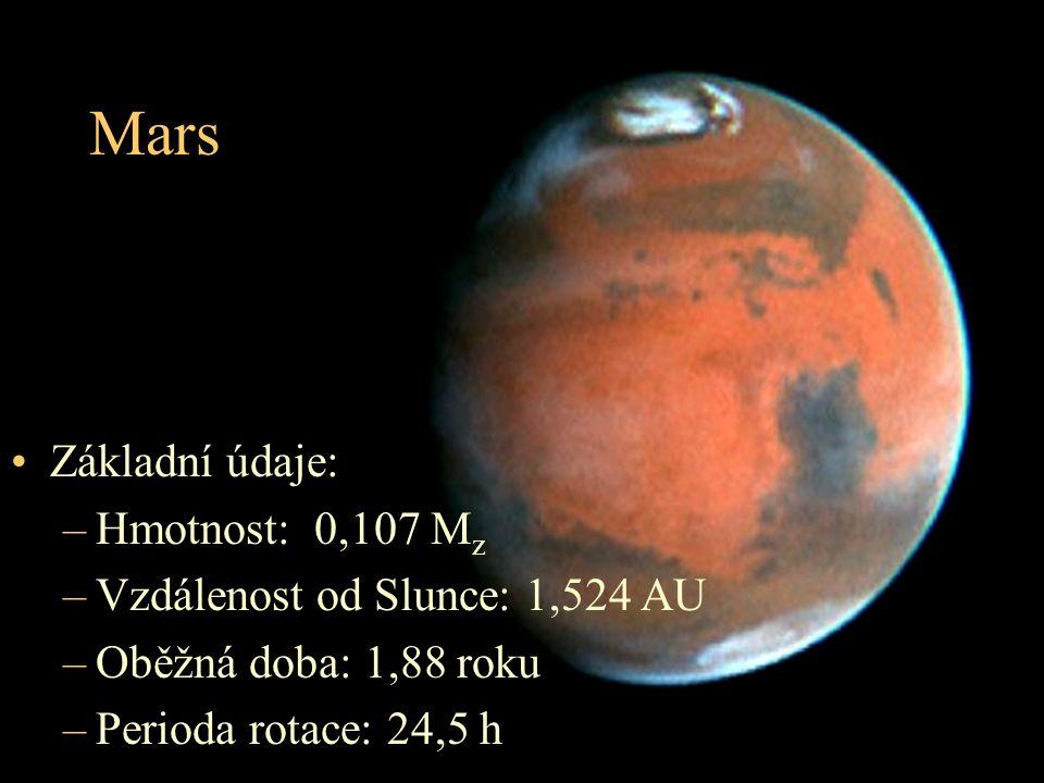 Mars Základní údaje: –Hmotnost: 0,107 M z –Vzdálenost od Slunce: 1,524 AU –Oběžná doba: 1,88 roku –Perioda rotace: 24,5 h