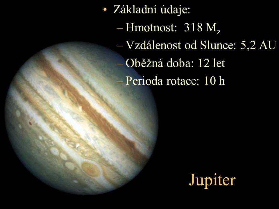 Jupiter Základní údaje: –Hmotnost: 318 M z –Vzdálenost od Slunce: 5,2 AU –Oběžná doba: 12 let –Perioda rotace: 10 h