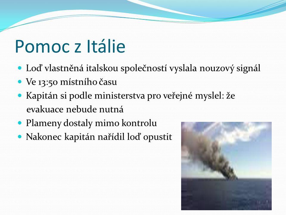 Pomoc z Itálie Loď vlastněná italskou společností vyslala nouzový signál Ve 13:50 místního času Kapitán si podle ministerstva pro veřejné myslel: že e