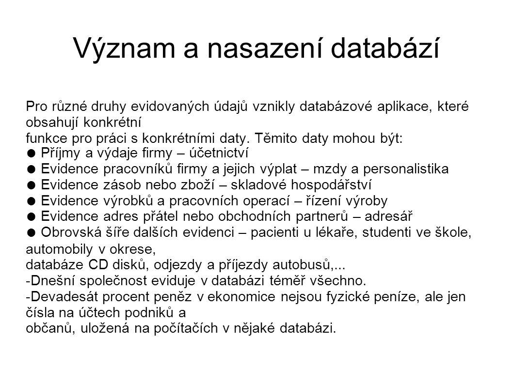 Význam a nasazení databází Pro různé druhy evidovaných údajů vznikly databázové aplikace, které obsahují konkrétní funkce pro práci s konkrétními daty
