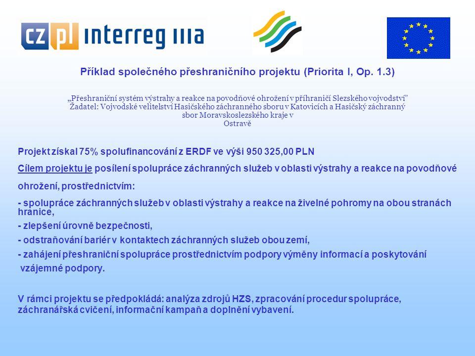 """Příklad společného přeshraničního projektu (Priorita I, Op. 1.3) """" Přeshraniční systém výstrahy a reakce na povodňové ohrožení v příhraničí Slezského"""