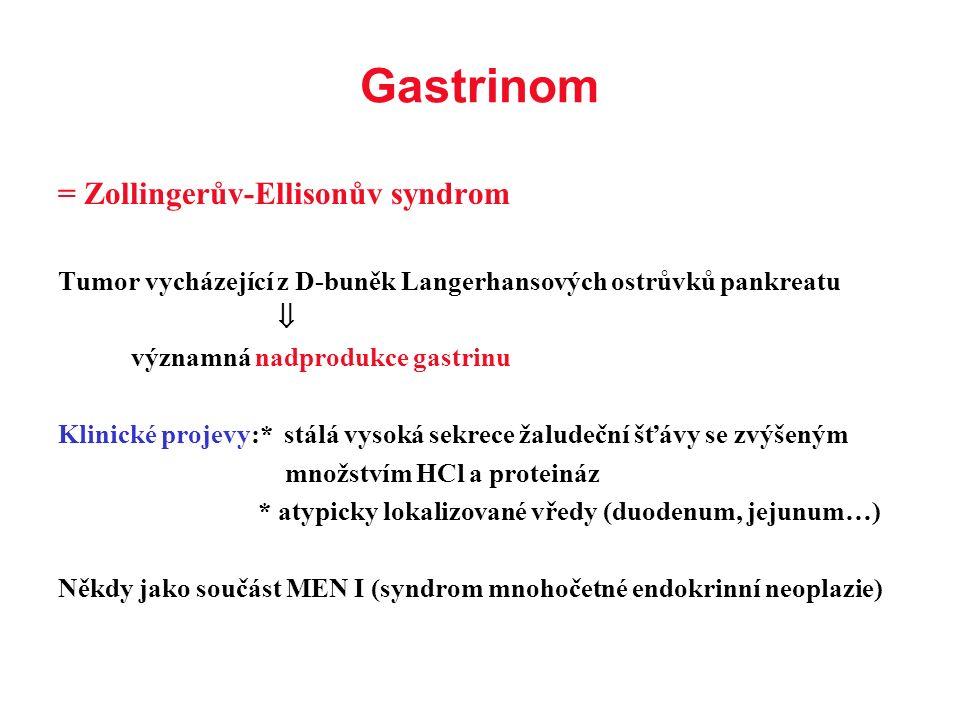 = Zollingerův-Ellisonův syndrom Tumor vycházející z D-buněk Langerhansových ostrůvků pankreatu  významná nadprodukce gastrinu Klinické projevy:* stál