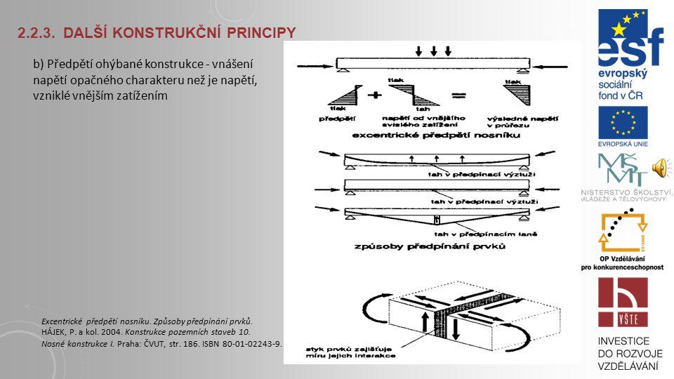2.2.3. DALŠÍ KONSTRUKČNÍ PRINCIPY a) Vyztužení ohýbané konstrukce - typické pro železobetonový či dřevěný lamelový průřez HÁJEK, P. a kol. 2004. Konst