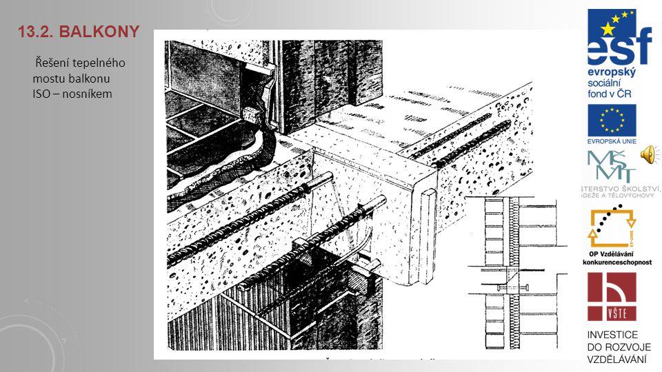 13.2. BALKONY Balkony a tepelné mosty: Umístění ISO nosníků do konzolových balkonových desek a konzolový ISO nosník. HÁJEK, P. a kol., 2004. Konstrukc