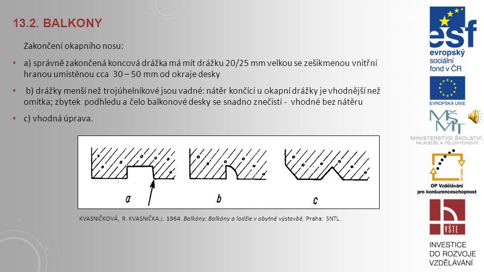 13.2. BALKONY Varianty ukončení okraje dlažby. a) odsazení dlaždice od volného okraje, b,c) dlaždice s volným okrajem lícuje, d) a e) dlaždice přečnív