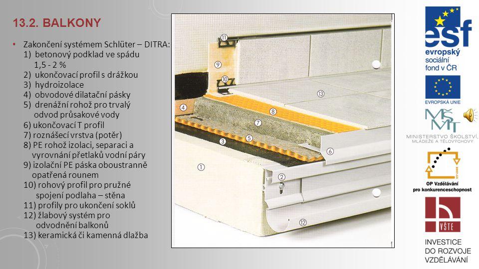 13.2. BALKONY Zakončení systémem Schlüter – DITRA: 1) betonový podklad ve spádu 1,5 - 2 % 2) koncový profil s okapničkou a drážkou pro připevnění žlab