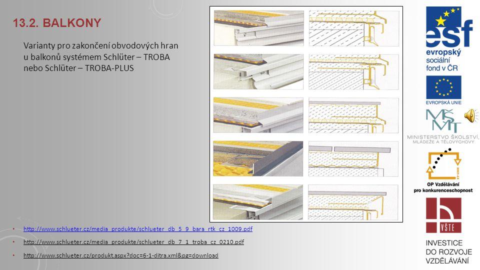 13.2. BALKONY Varianty pro zakončení obvodových hran u balkonů systémem Schlüter - DITRA