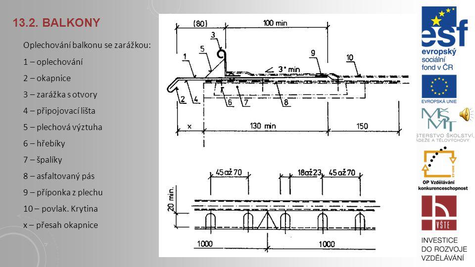 13.2. BALKONY Varianty pro zakončení obvodových hran u balkonů systémem Schlüter – TROBA nebo Schlüter – TROBA-PLUS http://www.schlueter.cz/media_prod