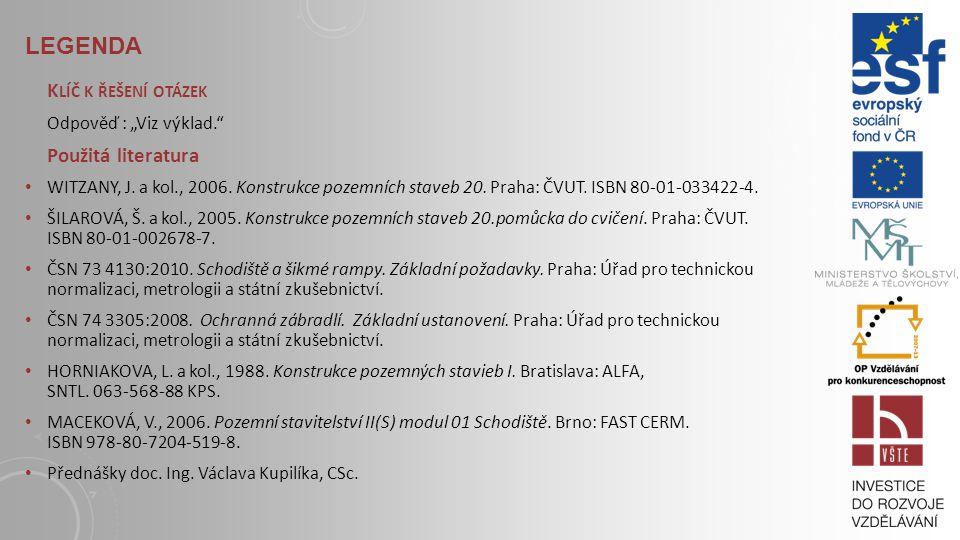 LEGENDA S TUDIJNÍ MATERIÁLY Základní literatura: WITZANY, J. a kol., 2006. Konstrukce pozemních staveb 20. Praha: ČVUT, str. 266-269. ISBN 80-01-03342